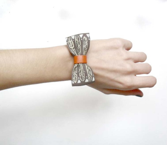 handpainted bow tie bracelet