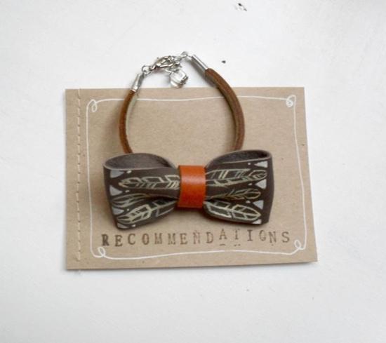 handpainted bow tie leather bracelet