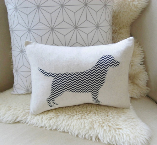 labrador with pattern fabric silhouette