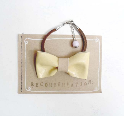 soft yellow bow tie bracelet