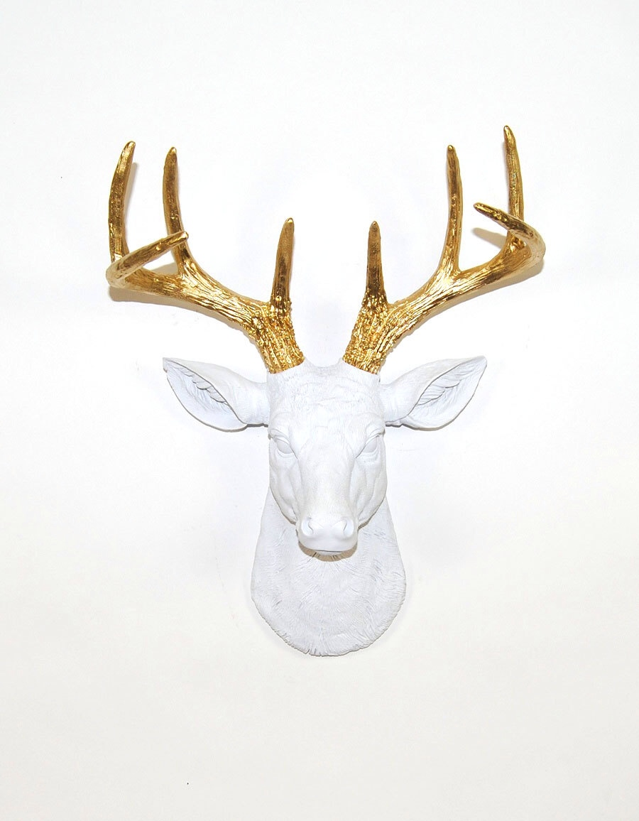 gold antler on white