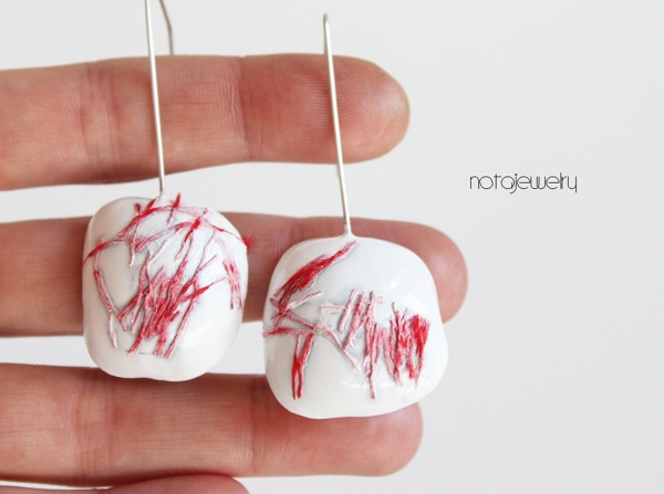 red on white contemporary earrings