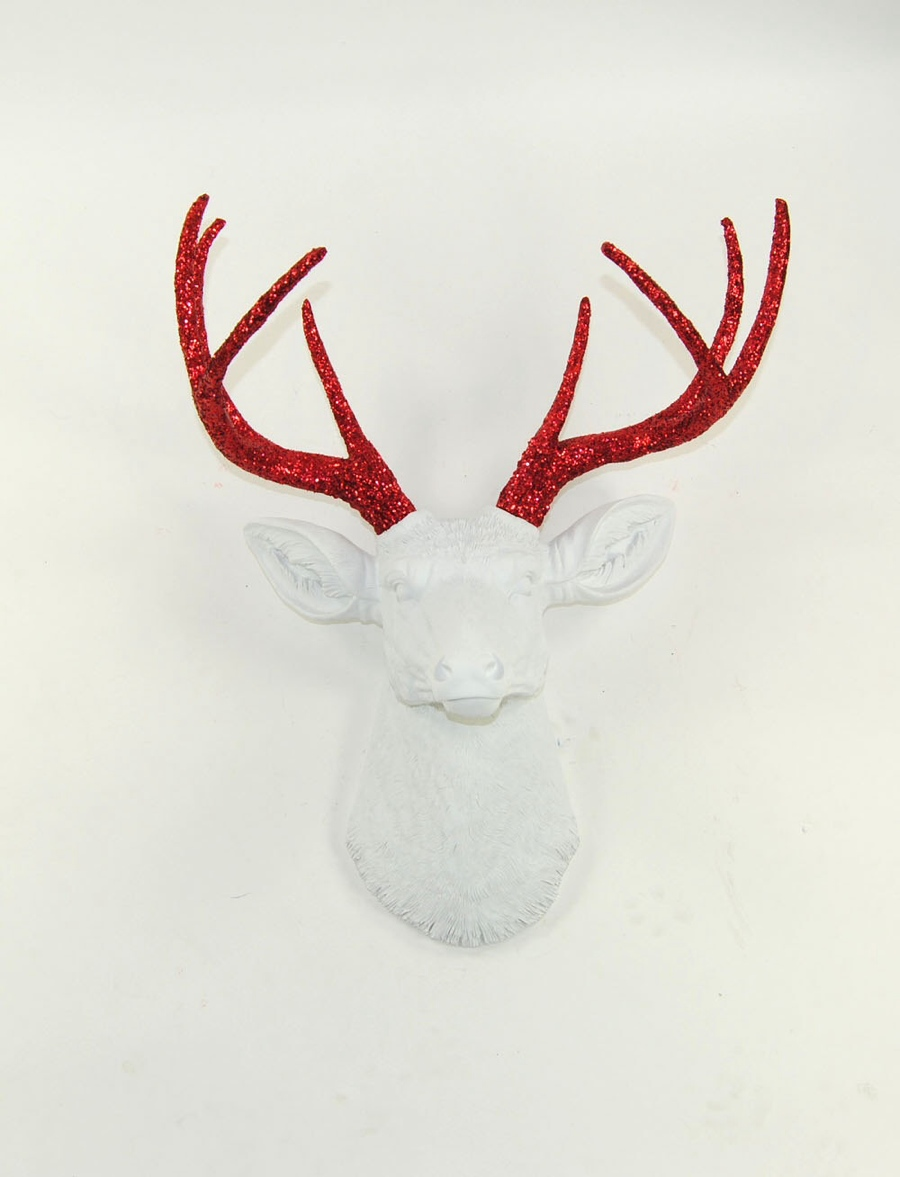 WFT white with red glitter antler